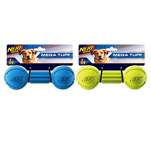 Nerf Dog 7in Chew Barbell 2-PACK: Blue and Green, Dog Toy