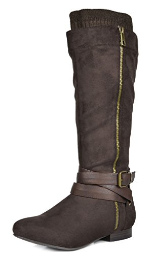 DREAM PAIRS Women's Beltran Brown Flat Slouch Knee High