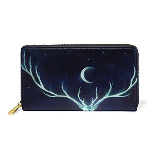 uine Leather Girl Zipper Wallets Deer And Art Crescent Moon Clutch Coin Phone (Deer Genuine Leather Lace)