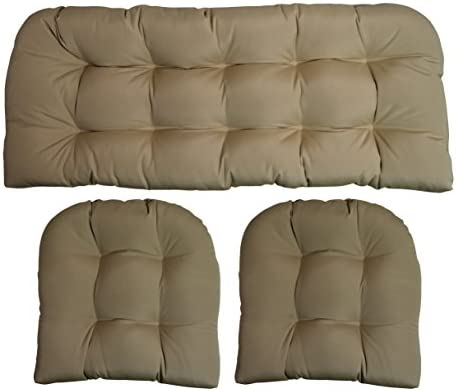 RSH DECOR Sunbrella Canvas Antique Beige Large 3 Piece Wicker Cushion Set – Indoor Outdoor Wicker Loveseat Settee 2 Matching Chair Cushions