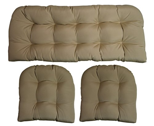 RSH DECOR Sunbrella Canvas Antique Beige 3 Piece Wicker Cushion Set – Indoor Outdoor Wicker Loveseat Settee 2 Matching Chair Cushions
