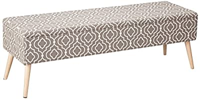 "Otto & Ben 52"" Storage Bench - Mid Century Ottoman with EASY LIFT Top, Upholstered Shoe Ottomans Seats for Entryway and Bedroom, Parent"