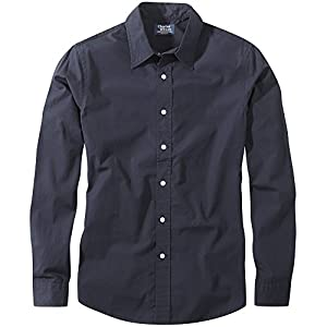 Charles Wilson Men's Long Sleeve Plain Poplin Casual Shirt