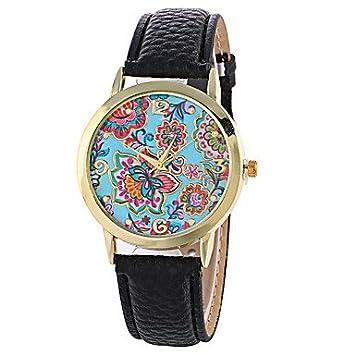 Bella relojes reloj de mujer, Elegante/reloj a la Moda/reloj de pulsera cuarzo/PU banda flores negro/blanco/rojo/marrón/verde, negro: Amazon.es: Deportes y ...