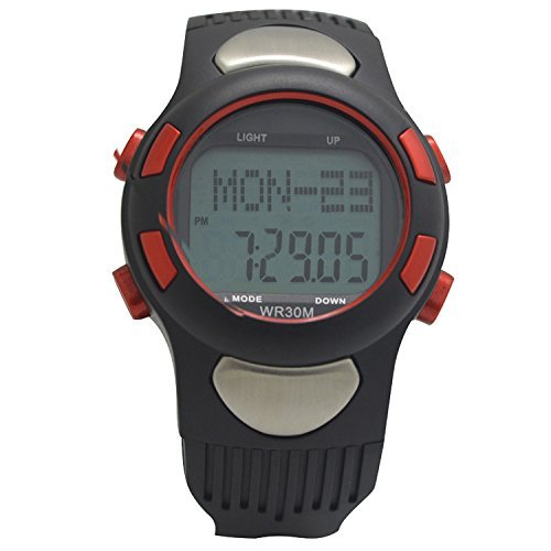 GQMART Water-Resistant Sports Pulse Heart Rate Monitor Fitness Exercise Watch Pedometer Calorie Stopwatch Outdoor Cycling Red by GQMART