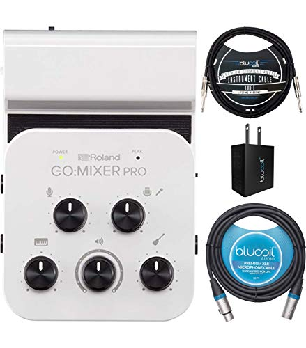 Roland GO: MIXER PRO Audio Mixer for Smartphones Bundle with Blucoil 10-FT Balanced XLR Cable, 10-FT Straight Instrument Cable (1/4in), and USB Wall Adapter (Mixer Mobile)