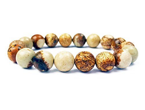 Viable Harvest 10mm Natural Stone Beaded Bracelet, Jasper Round with Reinforced Stretch Fit (Picture (Beaded Watch Bracelet)