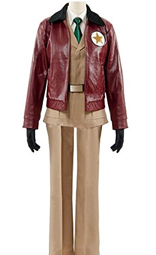 LYLAS Cosplay Costume Outfits Leather Jacket Uniform Full Suit (Male-XL) Brown (Hetalia America Costume)