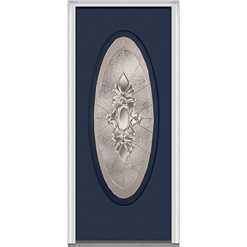 National Door Company ZZ02510R Fiberglass Smooth, Naval, Right Hand In-swing, Exterior Prehung Door, Heirloom Master Large Oval, 32