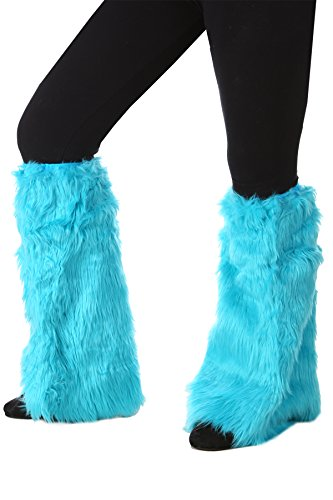 Princess Paradise Women's Light Blue Fur Leg Warmers Deluxe Costume, One Size -