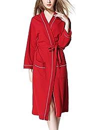 Coolmee Women's 100% Cotton waffle bathrobe Kimono Spa Sleep Robe