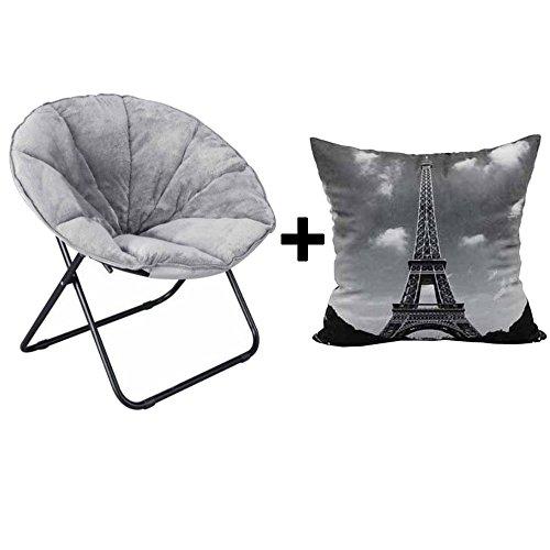 Soft Plush Folding Saucer Chair in Grey + Throw Pillow Eiffel Tower Black - Bundle Set by Mainstays