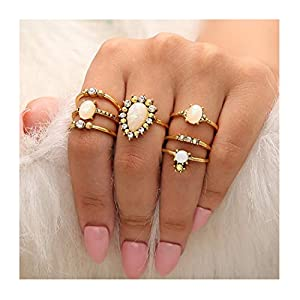 Fstrend Boho Joint Knuckle Rings Set Gold Multi Size Vintage Finger Ring Set Rhinestones Stackable Hand Jewelry for…