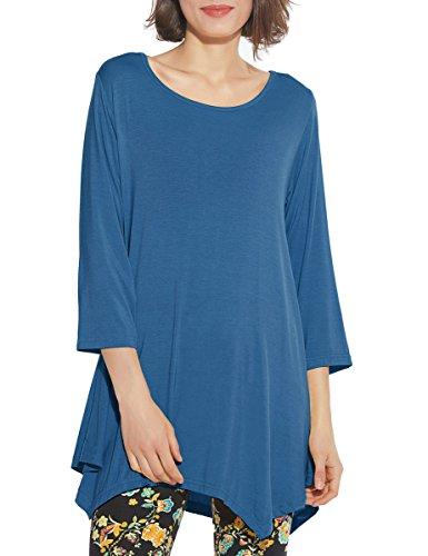 BELAROI Women 3/4 Sleeve Swing Tunic Tops Plus Size T Shirt (1X, Steel Blue) ()