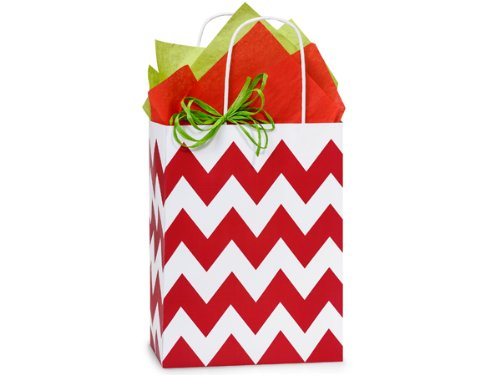 Christmas Gift Bags - Cub Chevron Stripe Red Recycled Bulk 8-1/4x4-3/4x10-1/2'' (250 bags) - WRAPS-CSBCRE by Miller Supply Inc