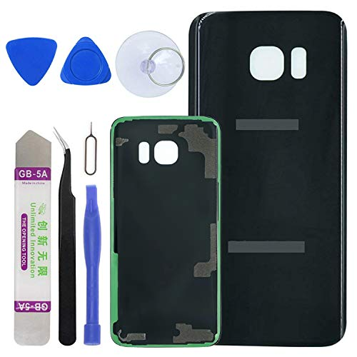 LUVSS [Extra Adhesive] Back Glass Replacement for Samsung Galaxy S7 Edge G935 (All Carriers) Rear Cover Glass Panel Case Housing with Opening Tools Kit (Black)