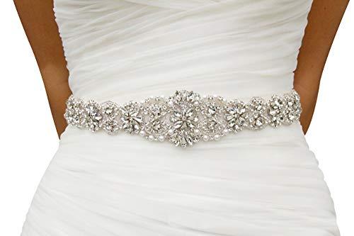 Wedding Gowns Accessories - Lovful Bridal Crystal Rhinestone Braided Wedding Dress Sash Belt,Beige Sash,One Size