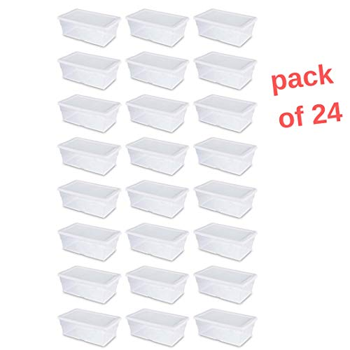 Storage Totes with Lid, Large Plastic Heavy Duty Reusable Bin Containers - Case of 24 6 Quart - for Move Closet Garage Desk Shelves Clothes Books Basement Clear Stacking 13.63 L x 8.25 W x 4