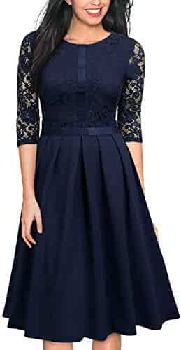 bca492a559 MISSMAY Women s Vintage Half Sleeve Floral Lace Cocktail Party Pleated Swing  Dress