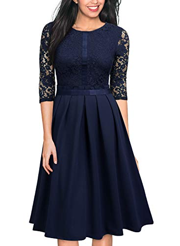 MISSMAY Women's Vintage Half Sleeve Floral Lace Cocktail Party Pleated Swing Dress X-Large Navy Blue