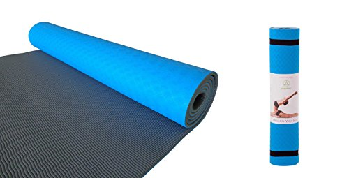 HOLIDAY SALE Yogalov Eco Friendly TPE Yoga Mat - 6mm 1/4 Inch Thick Non-Slip High-Density Non-Toxic Turquoise Blue Yoga Mat for Fitness Pilates and Workouts