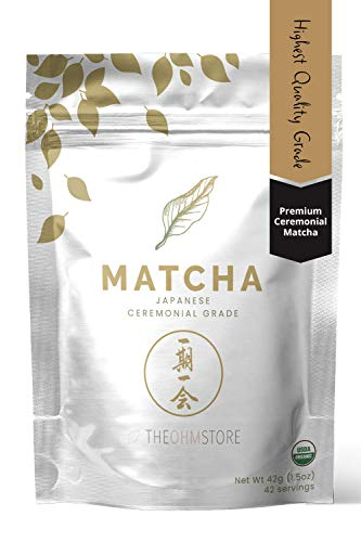 100% Organic Ceremonial Matcha Green Tea Powder by The Ohm Store ⁠- USDA Certified Organic Blend, Premium Ceremonial Grade, Pure Japanese Matcha Tea, Unsweetened and Vegan - 42g, 42 Servings