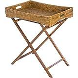 KOUBOO La Jolla Rattan Butler Tray with Folding Wood Stand, Honey Brown