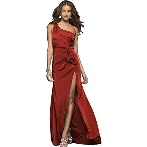 Faviana Womens Red 7892 Satin One Shoulder Prom Evening Dress 4 BHFO 4729