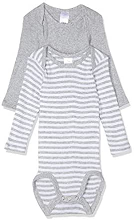 Bonds Baby Long Sleeve Bodysuit (2 Pack), Grey Stripe & White, 0000 (Newborn)