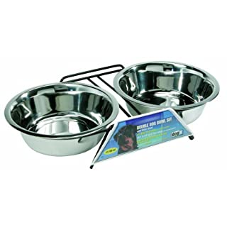 Dogit Stainless Steel Raised Dog Bowls with Wire Frame for Both Dogs and Cats, X-Large