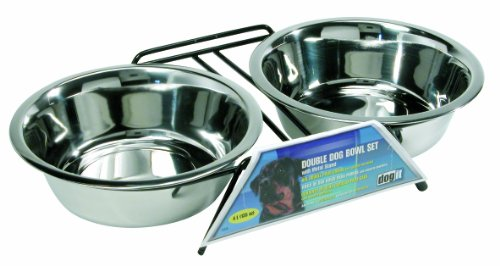 Dogit Stainless Steel Double Dog Diner, X-Large Double Diner Bowl