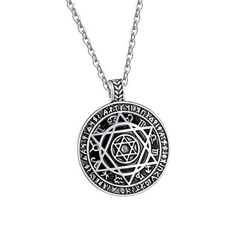 TENGYI Mens Titanium Steel Megan Star of David Pendant Necklace Jewish Jewelry, (Star Stainless Steel Pendant)