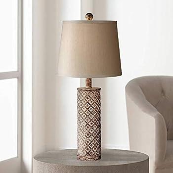Gisele Cottage Table Lamp Gold Wash Lattice Column Tapered
