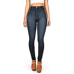 Vibrant Womens Juniors Classic High Waist Denim Skinny Jeans 13 Dark Denim