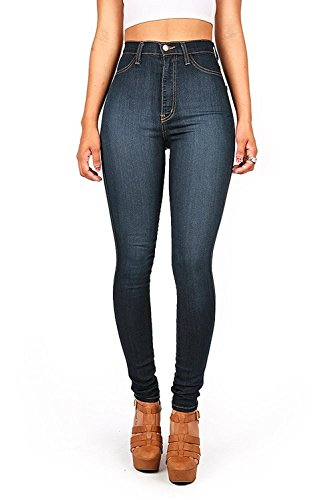 Vibrant Womens Juniors Classic High Waist Denim Skinny Jeans 11 Dark Denim