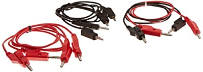"United Scientific WBP024-PK/6 Banana Plub Cord with Two-Way Stackable Banana Plugs at Both Ends, 24"" Length, 3 Red and 3 Black (Pack of 6) by United Scientific Supplies"