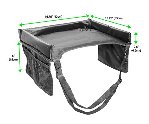 VViViD Kid's Snack & Play Travel Tray - Easy to Clean Black Nylon, Reinforced Sides, Cup Holder, Safety Straps & Mesh Pockets. Great for Car Trips, Plane Trips & More! by VViViD (Image #1)