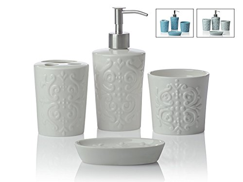 4 piece bathroom accessories set vintage damsk with soap or lotion dispenser toothbrush holder tumbler and soap dish premium metal pump glossy