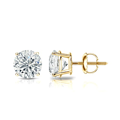 GIA Certified 18k Yellow Gold Round Diamond Stud Earrings 4-Prong (1.30 cttw, F-G, VS2-SI1) - Rb3557