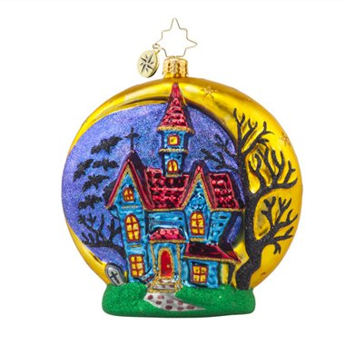 RADKO HALLOWEEN CHATEAU Haunted House Glass Ornament -