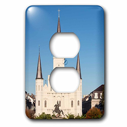 Jackson Square Light (Danita Delimont - Architecture - US, New Orleans. St Louis Cathedral in Jackson Square - Light Switch Covers - 2 plug outlet cover (lsp_230844_6))