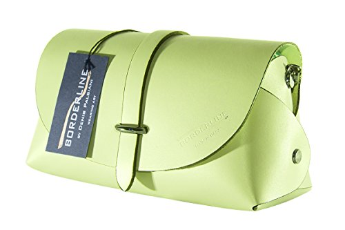 BORDERLINE - 100% Made in Italy - Embrague de Cuero Real - EVELINA G. Verde Lima
