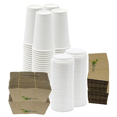 100 Disposable Paper Hot Coffee Cups with 100 Cappuccino Lids and 100 Protective Corrugated Cup Sleeves, White (16 Ounce)