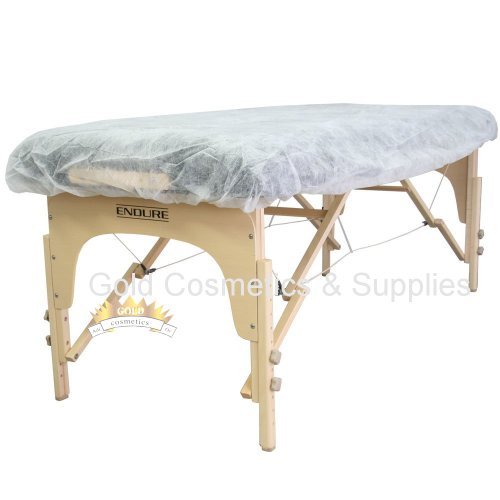 100 Ct. White Disposable Elastic Fitted Bed Sheets Cover Massage Table Facial Chair Spa by Gold Cosmetics & Supplies