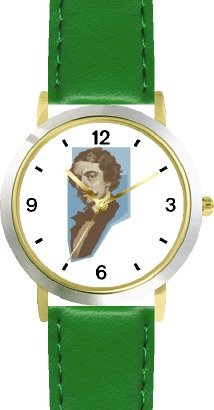 Price comparison product image Johann Strauss Jr. 2 Musician - Music Composer - WATCHBUDDY DELUXE TWO-TONE THEME WATCH - Arabic Numbers - Green Leather Strap-Size-Children's Size-Small ( Boy's Size & Girl's Size )