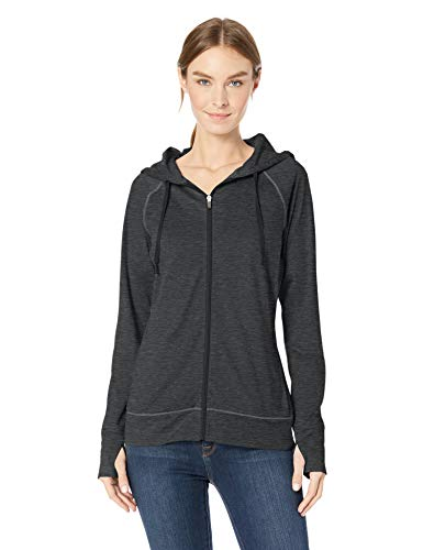 Amazon Essentials Women's Brushed Tech Stretch Full-Zip Hoodie, Black Space dye, Medium