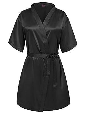 Zexxxy Women Kimono Robe Solid Color Satin Short Sleepwear with Pocket ZE0051