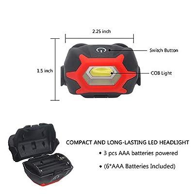 2 Pcs Portable LED Headlamp Flashlight,1000 Lumen Ultra Bright Work Headlight with Sensitive Switch,Adjustable Headband,COB Head Lamp For Camping,Emergency,Sports,Hiking