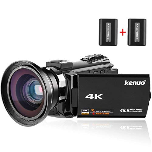 Video Camera Kenuo 4K Camcorder, 48MP Portable Ultra-HD 60FPS WiFi Digital Video Camcorders 3.0″ Touch Screen IR Night Vision Camcorder with Wide Angle Lens (Camera+Lens)