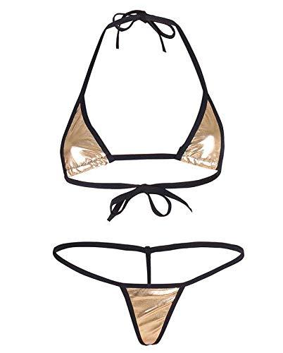 9d35a19ed80 Mpitude Golden Metallic Micro Bikini Set Black Trimming Sexy Bikini Bra  Panty Gstring Two Piece Bikini